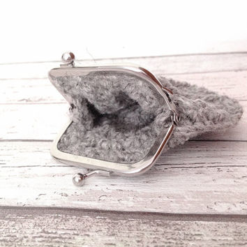 Crocheted wool silver gray purse