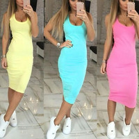 New Summer dress Sexy Woman Candy Color long dress-006-27