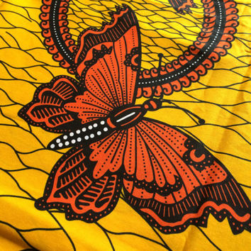 African Wax Print Fabric by the HALF YARD. Butterflies in Orange and Golden Yellow