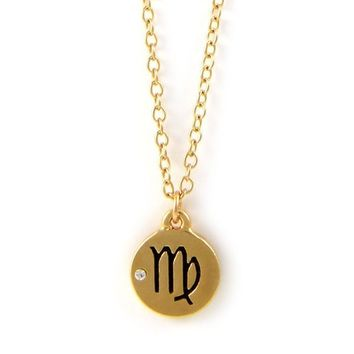 Virgo Gold Chain Necklace with Crystal Accent