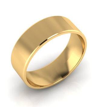 Wedding Band, Solid Gold Wedding Band, 8.00mm 14K Yellow Gold Band, Hand Made Wedding Band, Free Engraving and Shipping, Flat Design 8.00mm