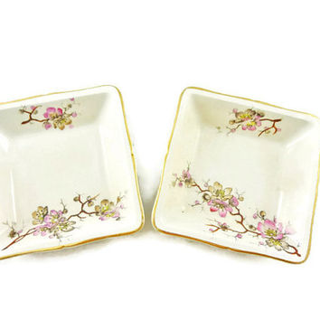 Vintage Cherry Blossom Small Dishes with Gold Edges