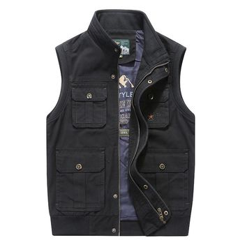 Plus Size 8XL AFS JEEP Vest Men Military Waistcoat Army Tactical Many Pockets Vest Sleeveless Men Jacket big Male Travel Coat