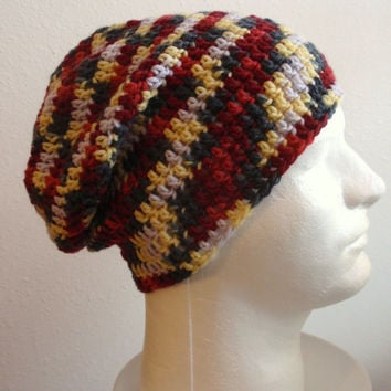 Mens Slouchy Beanie Striped - Crochet Slouch Beanie Mens Gray Burgundy Yellow Beanie Hipster Hat Wool Slouchy Beanie - Fall Apparel - Unisex