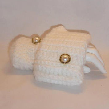 Fingerless Gloves , White, Crochet