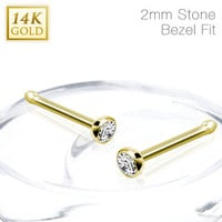14k Solid Yellow Gold Nose Bone with Clear CZ