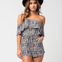 SOCIALITE Medallion Womens Off The Shoulder Romper | Rompers