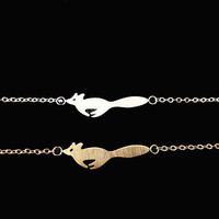Women's Stainless Steel Little Prince Running Fox Charm Bracelet