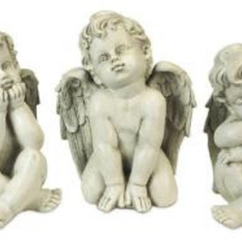 3 Angel Statues - Sitting Cherubs