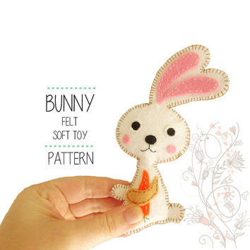 Felt Woodland Bunny Sewing pattern, Stuffed Toy