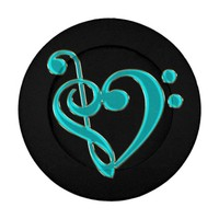 Teal Music Treble Bass Clef Heart Button Cover