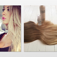 """Malibu Ombre Hair, Dark Blonde Ombre Hair, Light Blonde Ombre Hair, Free People Hair, (7)Pieces,16"""", Custom Your Color"""