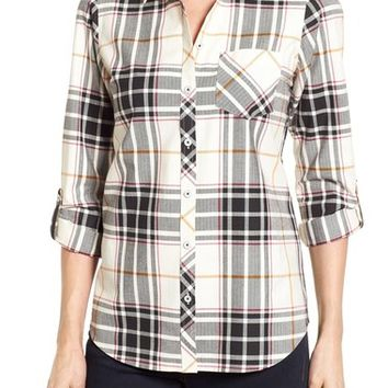 Foxcroft Herringbone Plaid Roll Sleeve Shirt | Nordstrom