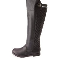 Quilted Over-the-Knee Riding Boots by Charlotte Russe - Black