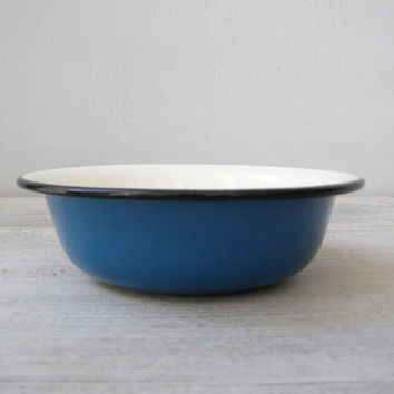Soviet enamel Blue soup Bowl, Vintage Rustic farmhouse kitchenware, Metal Salad bowl, Retro French Country Kitchen, Small Enamel planter