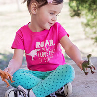 Toddler or Baby Girl's Dinosaur Shirt, Trendy Girl Shirt, Roar Means I Love You