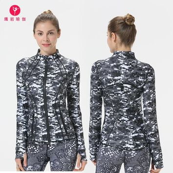 Yoga Loose Coat Woman Printing Jacket Stand Lead Zipper Motion Close Thumb Sleeve Autumn And Winter Yoga Serve Speed Do Jacket