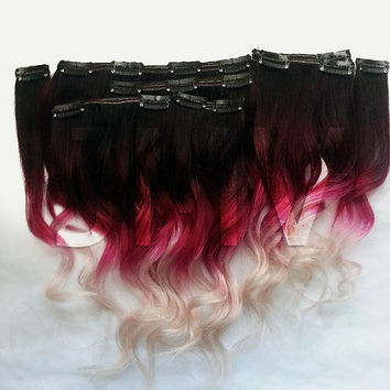 "Full Head 18"" #1 Crimson Blonde 100% human hair extensions Ombre Dip Dye Clip In Red Hair"