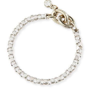 Oscar Heyman 18K White Gold Ladies Link Bracelet with Diamonds