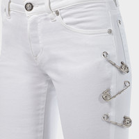 Versus Versace Safety Pin Cropped Skinny Jeans for Women | US Online Store