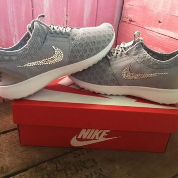 Blinged Nike Juvenate Shoes Grey Customized With Swarovski Crystal Rhinestones New in