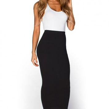 Holly Black Cozy Knit High Waisted Midi Pencil Skirt