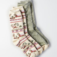 AEO Gingerbread House Crew Socks 2-Pack, Oatmeal Heather