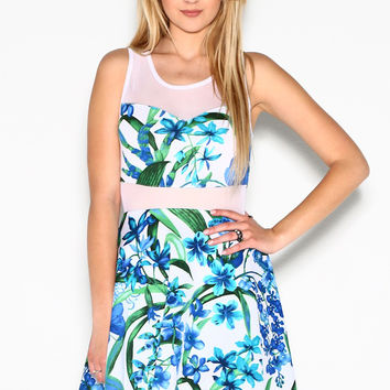 Blue Hawaiian Floral Print Dress