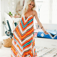 Chiffon Multi Color Zigzag Pattern Spaghetti Strap Maxi Dress