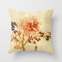 peach and golden floral Throw Pillow by clemm