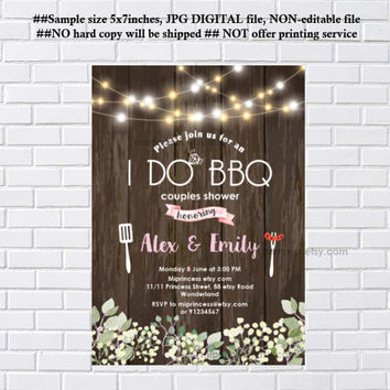 I Do BBQ Invitations, Wedding Shower Invites,  Couples Shower BBQ, Wedding Shower BBQ Chalkboard, Engagement Party, Bridal bbq  - card 1107