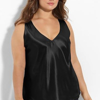 STYLE# 323    Plus Curves V-Neck Satin Anti-Cling Camisole