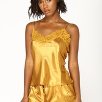 Needs Attention Satin Pj Set - Mustard