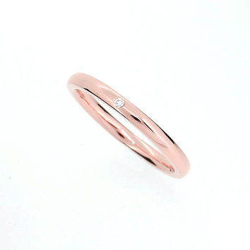 Rose gold wedding band with diamond, thin wedding ring, promise ring, simple engagement, gold wedding, single diamond  ring, red gold