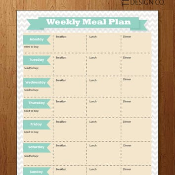 Weekly Meal Planner - Instant Download - Kitchen Organizer - Healthy Meals - Cook at Home