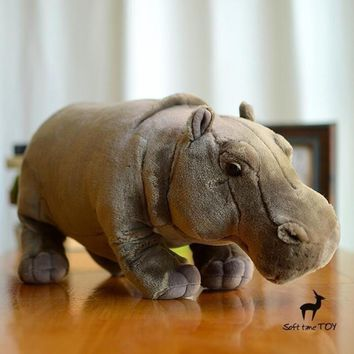 Realistic Hippo Stuffed Animal Plush Toy 17""