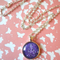 purple Buddha round glass dome necklace for kids, tween or teen girl