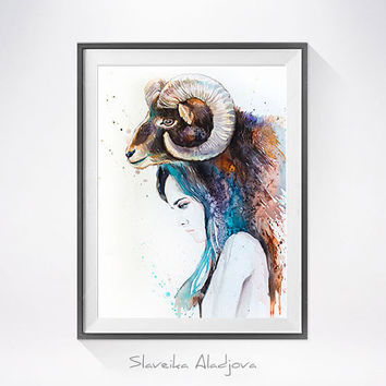 Mouflon Girl watercolor painting print, Fashion Illustration, Mouflon art, Woman art, Girl Illustration, watercolour, Girl art, art print