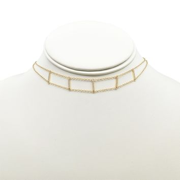 Multi-CZ Vertical Bar Choker Necklace