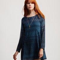 Long Sleeve Folk Print Shift Dress