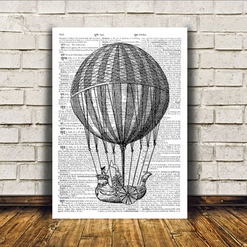 Steampunk print Balloon poster Modern decor Antique art RTA11