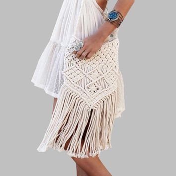 New Fashion Bohemian Tassel Beach Bag Women Crochet Fringed Crossbody Bag Ultralight Shoulder Bag Women Small Bolsos Feminina