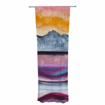 "Marco Gonzalez ""A 0 36"" Multicolor Orange Abstract Nature Painting Mixed Media Decorative Sheer Curtain"