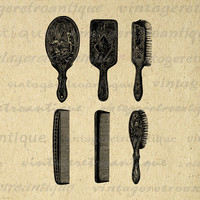 Digital Printable Brush and Comb Set Collection Download Salon Hairdressing Barber Image Graphic Vintage Clip Art HQ 300dpi No.2852