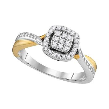 10k 2-tone Gold Women's Diamond Square Cluster Bridal Ring - FREE Shipping (US/CA)