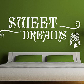 rvz963 Wall Vinyl Sticker Decal Words Sign Quote Sweet Dream Catcher Dreamcatcher Z963