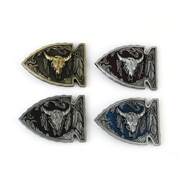 Arrowhead Bull Skull Native Belt Buckle