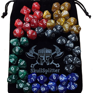 D10 DICE SET-5 Complete Sets, Perfect for WOD or Math Dice Games - 10 Sided Polyhedral Dice, Table Top RPG Games Hit Point / Level Counters, Opaque Marbled