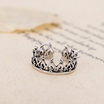 Flyleaf 925 Sterling Silver Imperial Crown Open Rings For Women Do The Old Hollow Lady Vintage Jewelry Bijoux Femme
