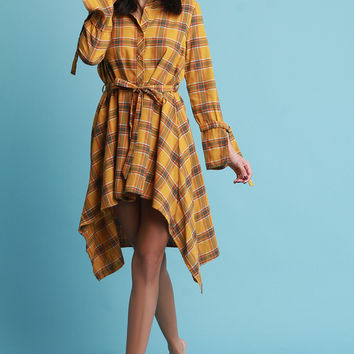 Plaid Button Up Waist Sash High Low Dress | UrbanOG